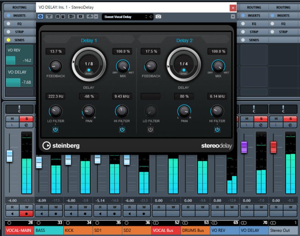 ミックス マスタリング Stereo Delay ディレイ FXチャンネル CUBASE Pro